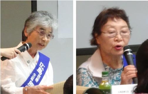 (左)当時5才で被爆。「被爆の差別を恐れ結婚して出産するまで被爆者手帳をもらいませんでした。」 と語る植松さん。(右)「私の妹は学校が大好き。そのため原爆当日私より早く家を出て被爆しました。」と 語る島崎さん。