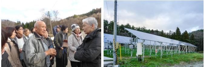 写真左:「震災以前から築地本願寺にて毎月開催される安穏朝市で農産物を販売していました」と語る菅野さん/写真右:飯館電力1号機、小林さん宅