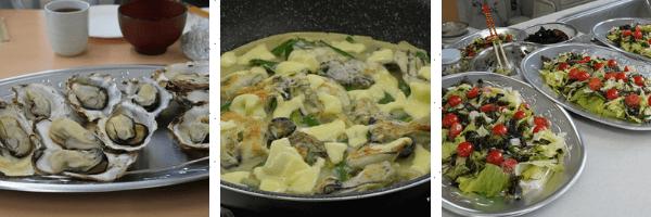 メニュー:蒸し牡蠣、牡蠣入りチヂミ、牡蠣の味噌汁、牡蠣のピリ辛炒め、わかめしゃぶしゃぶ、海藻入りサラダ、海藻ふりかけおにぎり