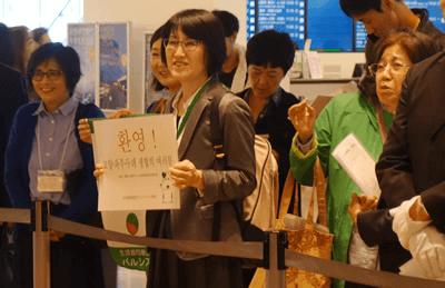 羽田空港国際線到着ロビーで