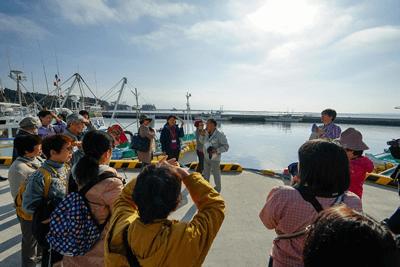3.11の津波被害を受けた松川浦で、当時の状況を語る「千客万来館」菅野氏