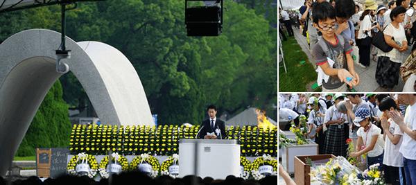 (左)広島県知事 湯崎英彦氏の挨拶、(右上)会場で折り鶴を献納、(右下)献花