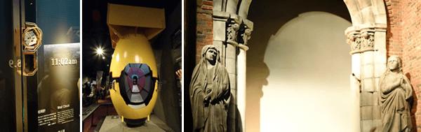 左)原爆が投下された11時2分を指して止まったままの柱時計、(中)投下された原子爆弾「ファットマン」の模型、(右)被爆した浦上天主堂の再現造形)