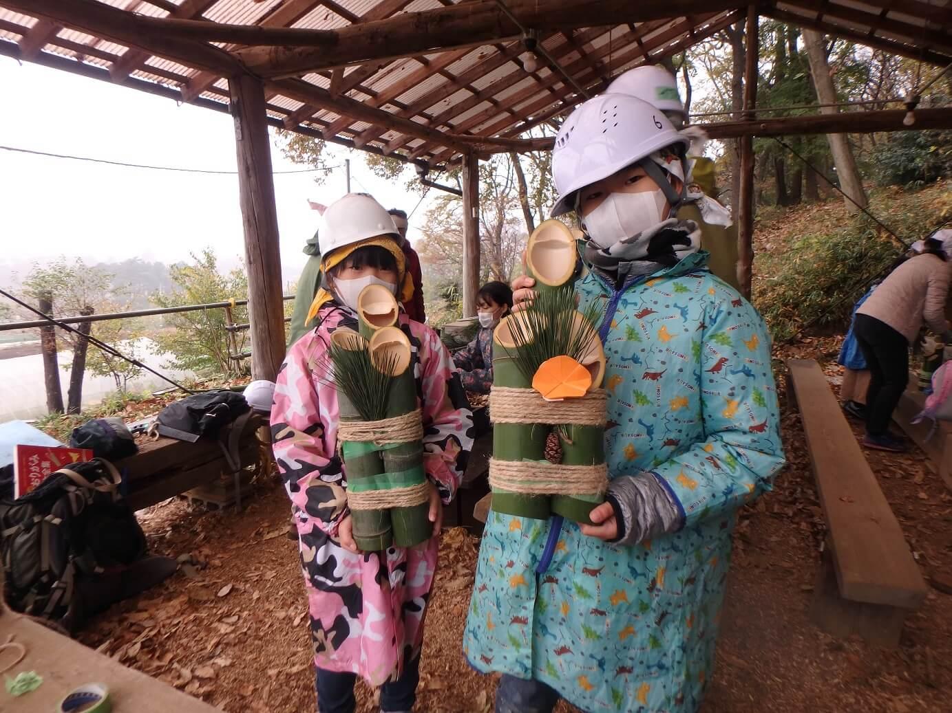 竹林保全とミニ門松づくり㏌いなぎめぐみの里山